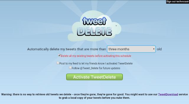 Activate TweetDelete