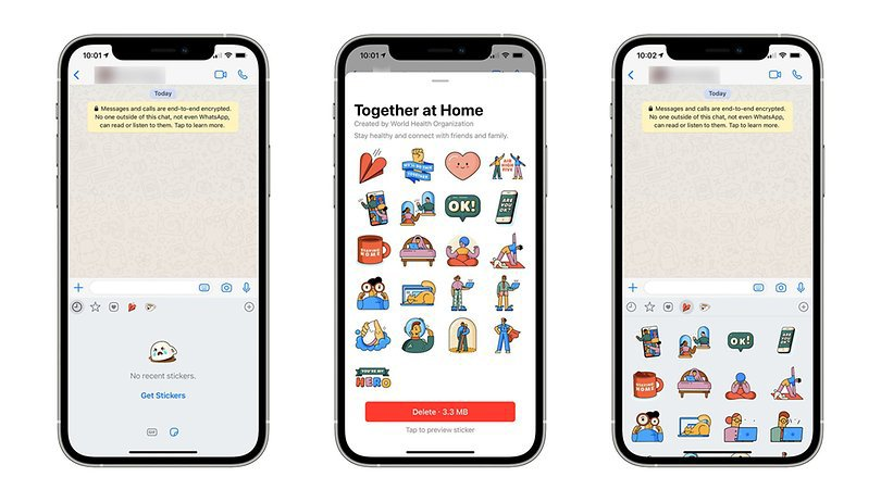 "The WHO ""Together at Home"" sticker pack has received new animated stickers."