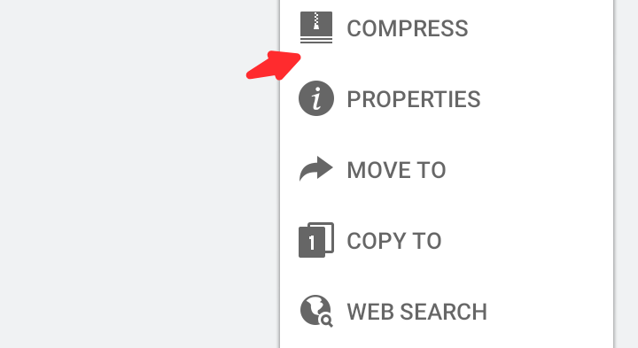 "Tap on ""More"" at the right bottom corner of your screen, and then select ""Compress."""