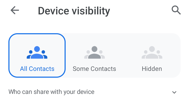 Choose between All Contacts, Some Contacts, and Hidden