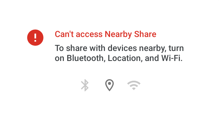 To Share with other device, you'll need to turn on Bluetooth, Location, and Wi-Fi