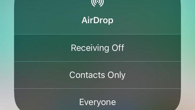 AirDrop three option