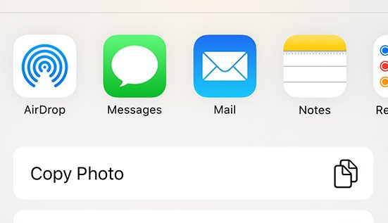 Share menu with AirDrop Share option