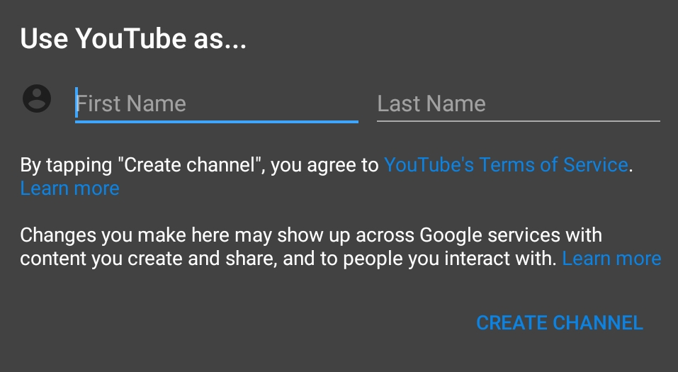 Create YouTube on your mobile Device