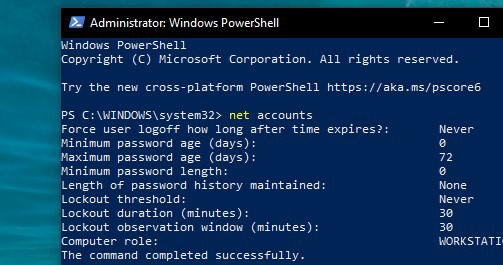 How to set up maximum password date via Windows PowerShell
