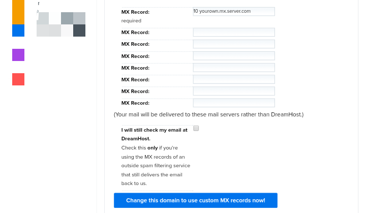 How to add MX records in DreamHost