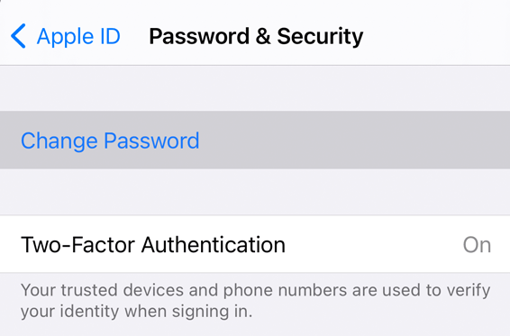 Apple ID password & Security