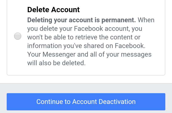 """Select """"Delete Account."""" Tap """"Continue to Account Deletion"""" and select """"Delete Account."""""""