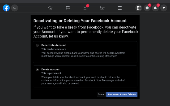 """Tick the box next to """"Delete Account,"""" and then, click on """"Continue to Account Deletion."""""""