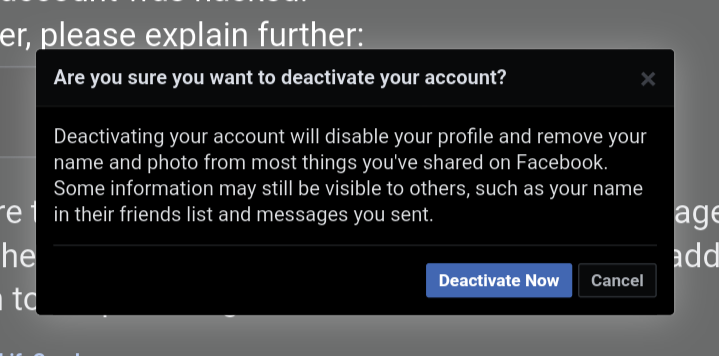 """One last warning will appear. Read the message and click """"Deactivate Now"""""""