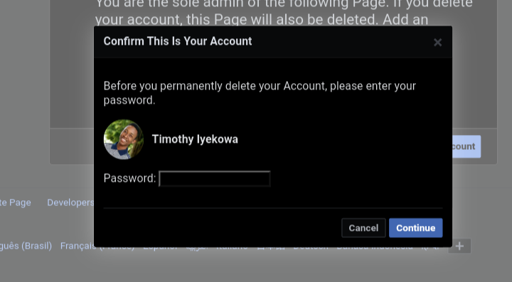 Enter your password before you can delete your account